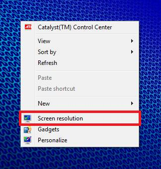 Screen Resolution menu