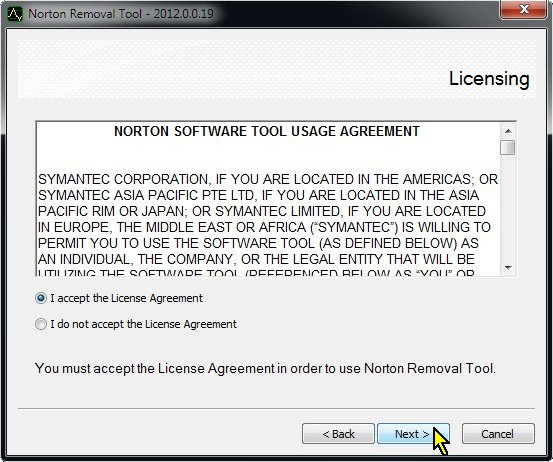 Norton Removal Tool, Accept License