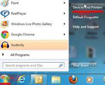 Windows 7 Start Menu, Devices and PRinters