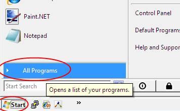 Windows Start Button, All Programs
