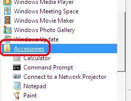 Windows Programs, Accessories Folder