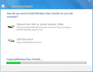 How do you want to install Windows 7 Easy Transfer on your old computer?