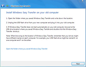 Install Windows 7 Easy Transfer on your old computer