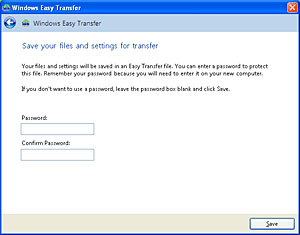Save your files and settings for transfer