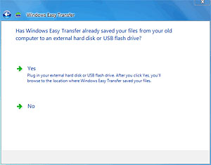 Has Windows Easy Transfer already saved files from old computer?