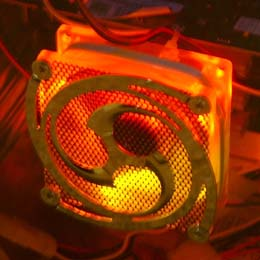 A tri-color (yellow, orange, and red) LED fan