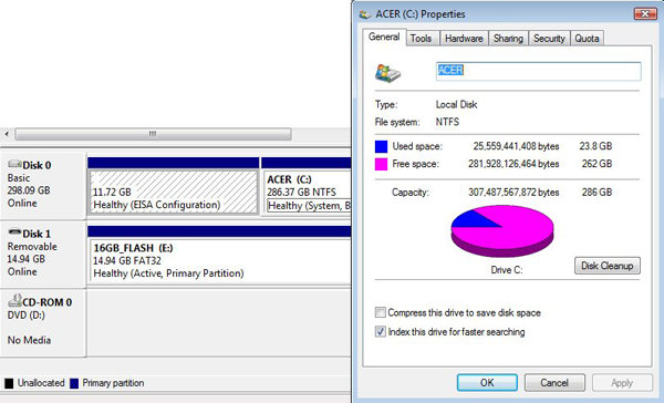 Drive Manager and Disk Properties show how the hard drive is organized